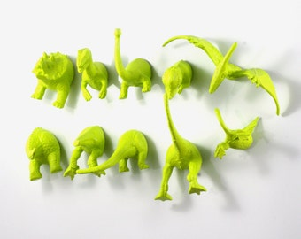 GREEN DINOSAURS!!! - Triceratops, brontosaurus, pterodactyl, and more! Animal Magnets