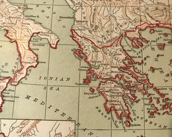Historical Antique Map Greece and her colonies, circa 1890
