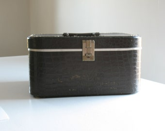 Vintage embossed Train Case / Empire Beauty School makeup case / faux alligator luggage / retro suitcase