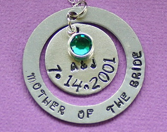 Mother of the Bride Necklace - Wedding Gift - Swarovski Birthstone - Hand Stamped Pendant