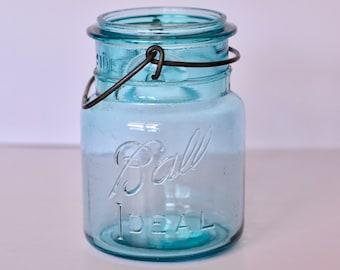 vintage mason jar, mason jar, blue mason jar, 1908 mason jar
