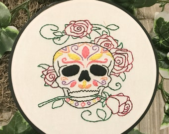 Sugar Skull with Roses Embroidery Hoop Art - Day of the Dead Art - Halloween decor
