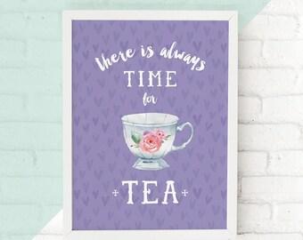 Tea Print, Cup Printable, Kitchen Wall Art, Kitchen Print, Tea Party, Tea Time, Cafe Wall Art, Flower Teacup Poster Home Decor Digital Print