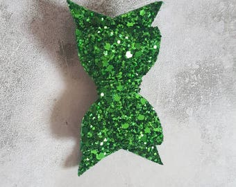 Small green glitter Christmas hair bow clip