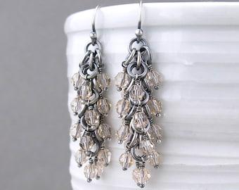 Crystal Beaded Earrings Silver Drop Earrings Crystal Earrings Silver Jewelry Neutral Earrings Beaded Jewelry Crystal Jewelry - Shaggy Loops