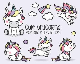 Premium Vector Clipart - Kawaii Unicorns - Cute Unicorns Clipart Set - High Quality Vectors - Instant Download - Kawaii Clipart
