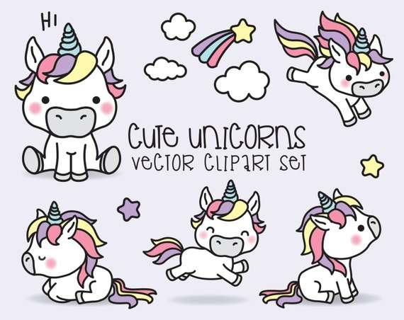 premium vector clipart kawaii unicorns cute unicorns rh etsy com vector clip art free vector clipart site