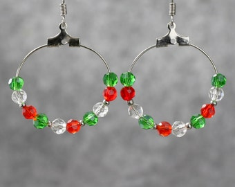 Red green czech glass hoop earrings Free US Shipping handmade anni designs