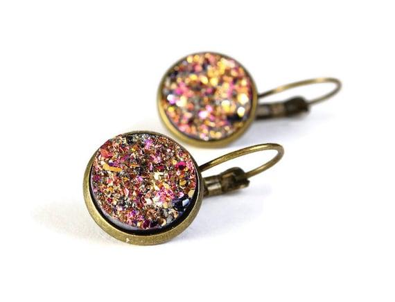 Antique brass gold and pink dangle drop earrings - Faux Druzy earrings - Textured earrings - Nickel free lead free (775)
