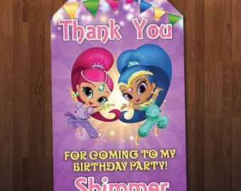 Shimmer and Shine Birthday Tag, Shimmer and Shine Thank You Card Tag, Shimmer and Shine Favor Tag, Digital Personalized Printable Tag