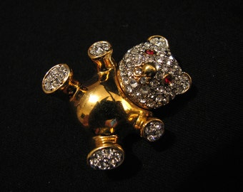 Vintage Heavy Gold Tone and Diamond Rhinestone Red Ruby Eye Teddy Bear Pin Brooch