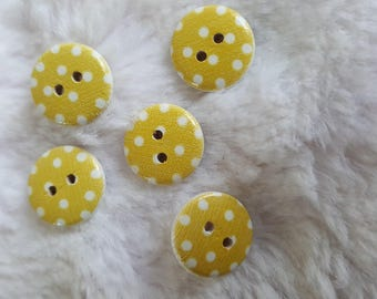 Lacquer wooden buttons, 15mm