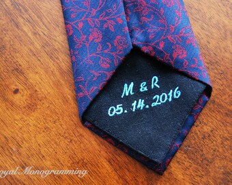 Wedding-Tie Patch-Monogrammed Initials and Wedding Date! FREE GIFT CASES!! Custom-Embroidered-Wedding Gift