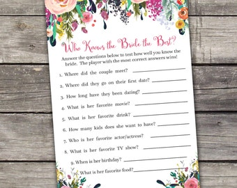 Floral Bridal Shower Game - Who Knows the Bride the Best Game - Watercolor Flowers - Bridal Activities - Bridal-154