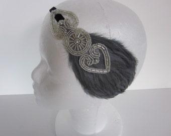 Silver beaded headband, great gatsby feather headpiece, gray feather, wedding headband, flapper bride, bridesmaids stretch velvet 1920s