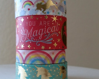 Unicorn washi - Rainbow and unicorns - You are Magical - Rainbows - Foil unicorns - Washi tape set - 24 inch washi samples