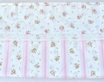 Vintage Springmaid No Iron Wondercale Cotton Pink Floral & Stripe Double Top Flat Sheet
