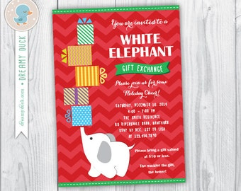 White Elephant Invitation Template DIY Printable White - White elephant christmas party invitations templates