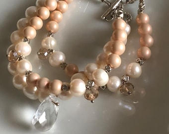 Bridal Freshwater Pearl Bracelet  with big Swarovski Drop