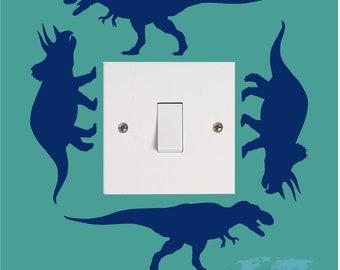 T REX TRICERATOP Dinosaur Boys Girls Childrens Bedroom Playroom Vinyl Wall Art Light Switch Sticker Surround Decal Transfer *20 colours*