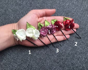 (2ud. Pins with wild flowers for hair. (2ud Flowers Bobby Pins
