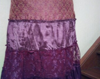 Skirt long patchwork fashion