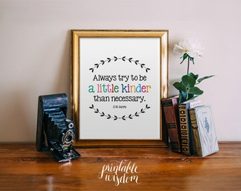 Inspirational Quote Print, printable wall art decor, always try to be a little kinder than necessary - digital typography JPEG PDF