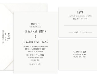 Wedding Invitation, Simple Invitation, Printed Invitation, Affordable Invitation, Modern Invitation, Wedding Suite, Invitation and RSVP
