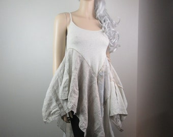 RESERVED for GP Lagenlook Boho Tunic Dress Sleeveless Tank Cream Stretch Knit Linen Chiffon Flowing Shabby Romantic Cottage Chic Size S - M