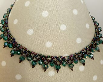Aurora Borealis Seed Bead Necklace, Beaded Jewelry, Beaded Necklace, Collar Necklace, Beadwork Necklace,Beadwoven Jewelry,Statement Necklace