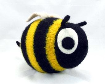 Bee Snooter-doot – felted wool toy, whimsical soft-sculptured doll, hand-knit plush, decorative softie, collectible stuffie, black yellow