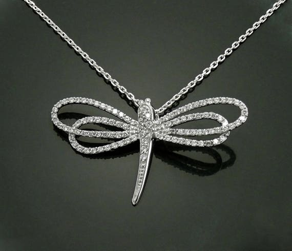 Great Diamond Dragonfly Necklace, Sterling Silver, Lab Diamonds Simulant, Unique Dragonflies Design Charm, Nature Jewelry, Mother's Day Gift