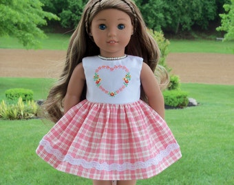 """Like American Girl Doll Clothes / Farmcookies Summer Embroidered Dress for 18"""" Dolls / 18 Inch Doll Clothes"""