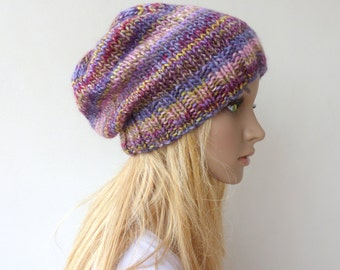 Colorful Knit Hat Purple beanie Slouch hat Womens winter hat