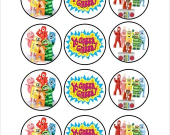 Edible Yo Gabba Gabba Cupcake Cookie Toppers