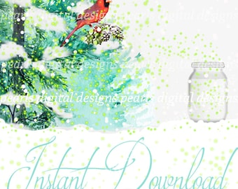Winter Fireflies Cover banner and Shop Icon, blank, instant download, lighting bugs, winter pine trees, snow, birds, mason jar, winter theme