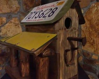 Rustic bird house /Wood Bird house/ bird house /bird feeder/artistic bird house/address sign bird house