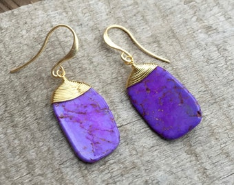 Gold Wire Wrapped Purple Turquoise Dangle Drop Boho Chic Earrings | Turquoise Earrings | Boho | Gold Earrings | Gifts for Her | Dangle