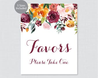 Printable Wedding Favor Sign - Fall Floral Wedding Sign - Rustic Autumn Flowers Favors Please Take One Sign, Favor Table Sign 0008
