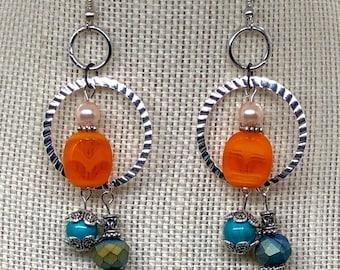Orange and Blue Dangle Earrings - Geometric Circle Earrings - Boho Inspired Earrings - Long Silver Earrings