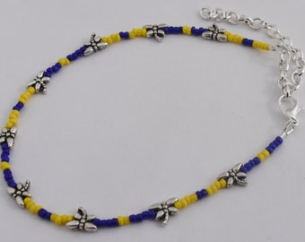 WV Ankle Bracelet, Dragonfly Anklet, Blue and Gold Jewelry, Silver Plated, Dragonfly Beads, Adjustable up to 11""