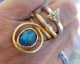 Labradorite ring, stacker, stacking ring, brass ring, gemstone ring, for her