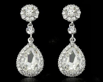 Crystal Teardrop Bridal Earring, Bridal Earrings, Dangle Bridal Earrings, Wedding Earrings, Bridal Jewelry,  Crystal Earrings, Prom Earrings