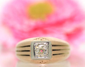 Vintage 14k Yellow gold Natural Old Mine cut round Diamond solitaire ring .38ct
