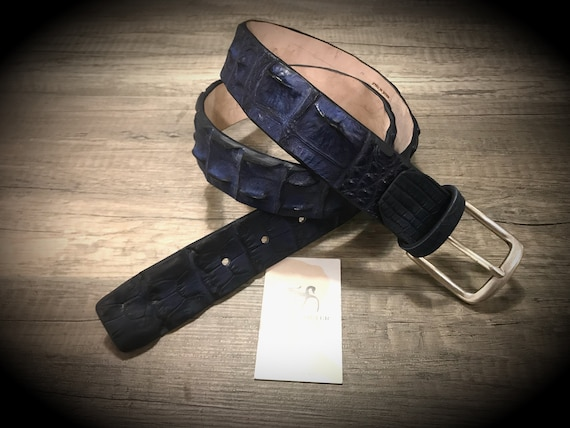 Genuine Alligator Leather Horn Back Belt width 40 mm. 1,57 inches colour BLACK in photo can CHOOSE size and color
