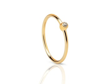 tiny cz Ring, solitary Ring, stacking ring -  simple engagement ring, Gold cz ring- round ring - tiny gold cz ring - tiny cz ring