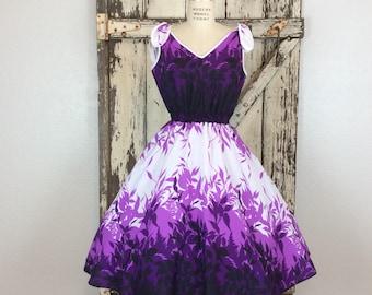 MEDIUM Vintage 70s 80s 1950s Style Purple and White Tropical Print Hawaiian Sleeveless Full Dress