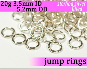 20g 3.5 mm ID 5.2 mm OD silver filled jump rings -- 20g3.50 jumprings