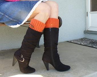Orange Brooklyn Boot cuffs, Crochet Orange Boot Cuffs, Orange Leg Warmers, Orange Boot Toppers