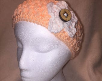Peach Colored Ear Warmer With Flower and Button